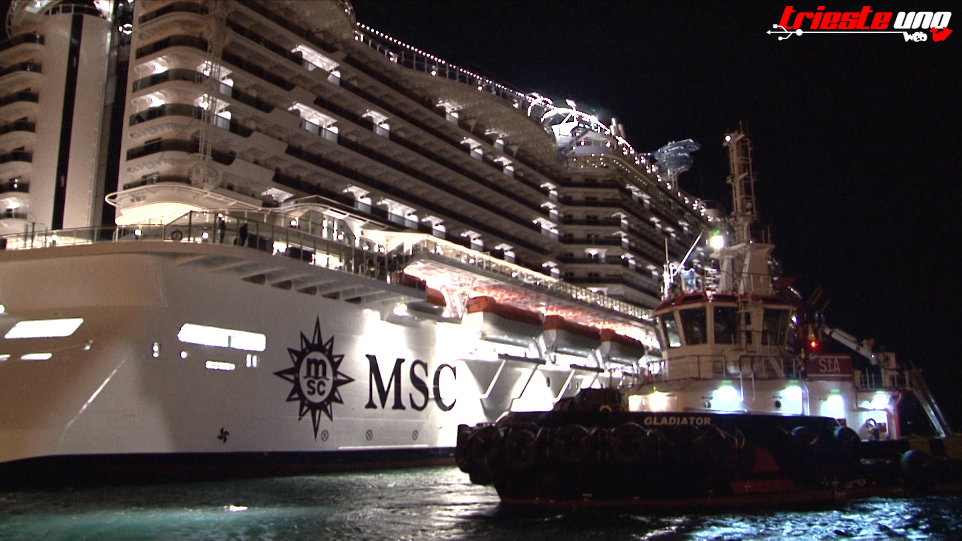 La MSC SEASIDE in partenza da Trieste